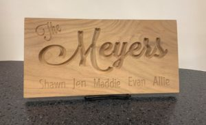 CNC Carved Family Sign