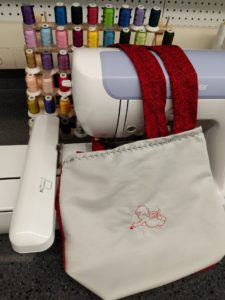 Tote With Embroidered Design and Decorative Stitching