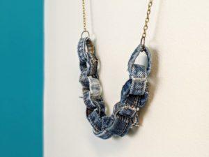 Repurposed Denim Necklace